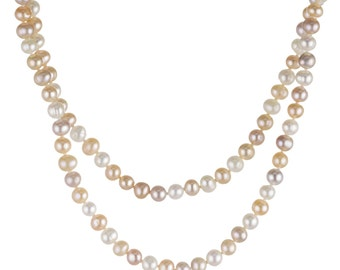 Long Pearl Necklace fresh water pearl white lilac apricot approximately 5.5 to 6.0 mm, 120 cm