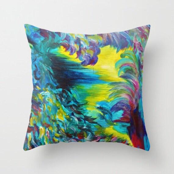 Modern Pillow Cover Design : FLIGHT ON TAP Bird Feathers Heart Abstract Art Pillow Cover