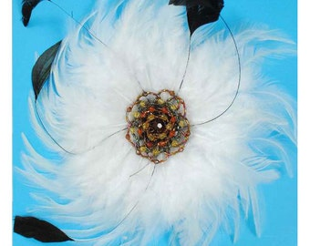 Extra Large Victorian Feather Brooch, White, x 1, For Millinery, Apparel, Accessories, Costumes, Mixed Media, Romantic Crafts