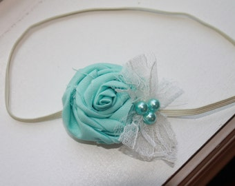 Aqua Lace Rosette and White Baby Flower Headband, Newborn Headband. Baby Girl Flower Headband, Photography Prop