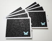 Set of 8 White and Black Embossed with Light Blue Butterfly Mini Cards with No Envelopes