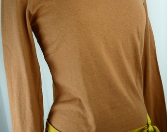 90s Dries Van Noten rust color chartreuse ribbon tie front cotton long sleeved minimalist t-shirt: US small/ 6-8