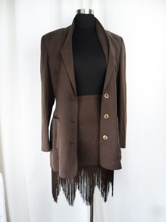rare 80s Rifat OZBEK brown silk fringed skirt suit/ tribal buttons/ sueded finish: US size 10/ Italy 44
