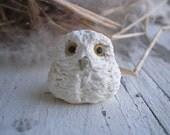 Baby Snowy Owl- Hedwig polymer clay charm. Harry Potter owl bird bead. realistic rustic jewelry pendant. Jettabugjewelry