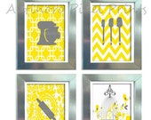 Yellow White Grey Unframed Kitchen Utensils Art Collection  -Set of (4) - 8x10 Prints