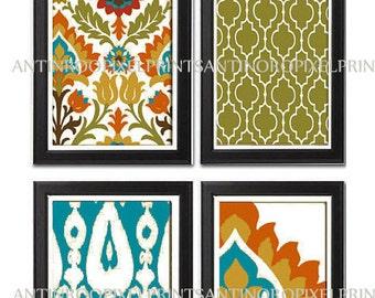 Ikat Digital illustration Wall Art - Set of (4) - 5X7 Prints - Featured in Orange Turquoise  (UNFRAMED)
