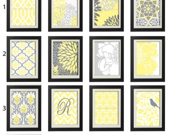 Mellow Yellow Grey White Vintage / Modern inspired Art Prints -Pick Any (6) Prints, Any Color - 8x10 Prints - (UNFRAMED)