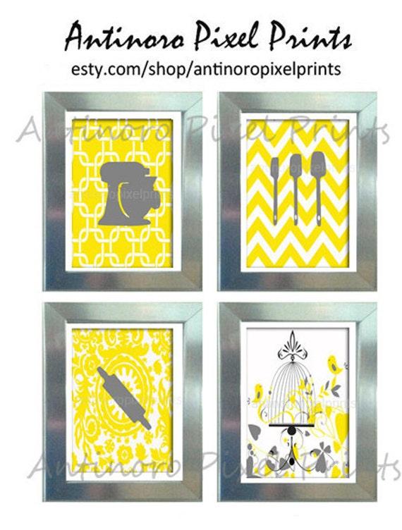 Yellow White Grey Unframed Kitchen Utensils Art Collection