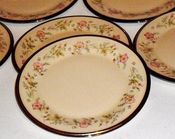 Vintage Lenox China Silver Rim Dessert plates, New Years Party Appetizer Plates, set of 6,  Flirtation Lenox Bread Plates, wedding plates