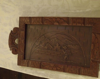Wooden Mexican Carved Tray Primitive Folk Art   / NOT INCLUDED iN SALE /