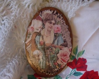 Pretty Victorian Card Decoupaged on Board /  Pretty Lady with Roses /:) 30 % 0ff see store heading for code