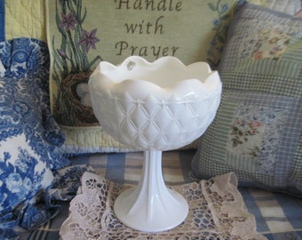 Beautiful Milk Glass Bowl / Dimmond Pattern or Quilt Pattern :)