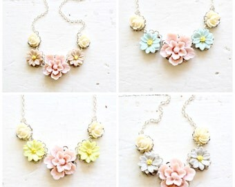 Four Sterling Silver or Gold Wedding Party Romantic Necklaces, Bridesmaids Jewelry Bundle