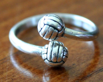 Volleyball Ring- Volleyball- Player Gift- Jewelry- Sterling Silver- Senior Team Gift- Adjustable Size