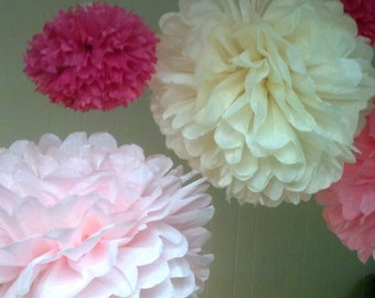 3 Tissue Paper Pom Poms- Pick Your Colors- Birthday/ Mother's Day/ Graduation