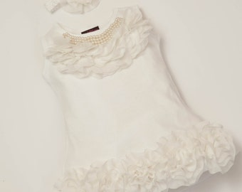 0-12ms Baby Girl Dress Cotton Infant White Dress with Chiffon  and Pearls