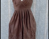 Batik Dress - Women's Medium - Babydoll - Brown - Leaves - 100% Cotton - Hand Dyed