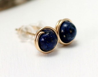Lapis Earrings, 14k Gold Filled Wire Wrapped Post Studs Yellow Gold Cobalt Blue Lapis Lazuli Stud Earrings