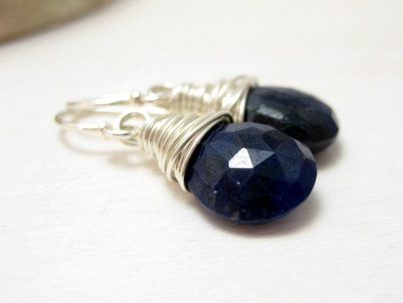 Genuine Sapphire Earrings, Sterling Silver Blue Sapphire Earrings September Birthstone Drop Dangle Earrings Wire Wrapped