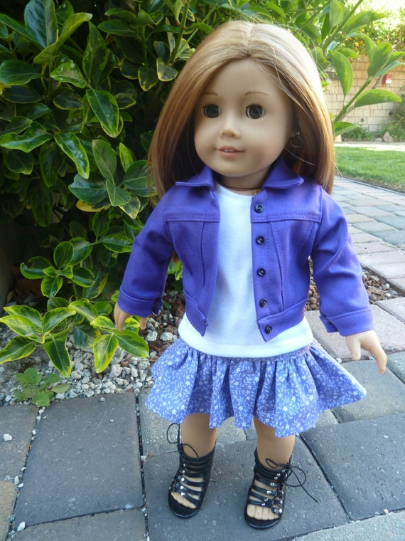 American Girl Doll Clothes - On the Go in Purple 3 piece outfit includes purple denim jacket, tshirt and ruffled skirt