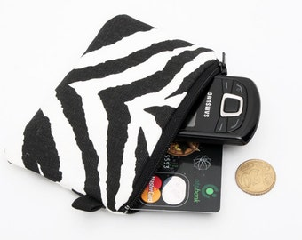 Coin purse, zipper change bag, small padded zippered phone pouch, iPod Shuffle holder - Black and white zebra
