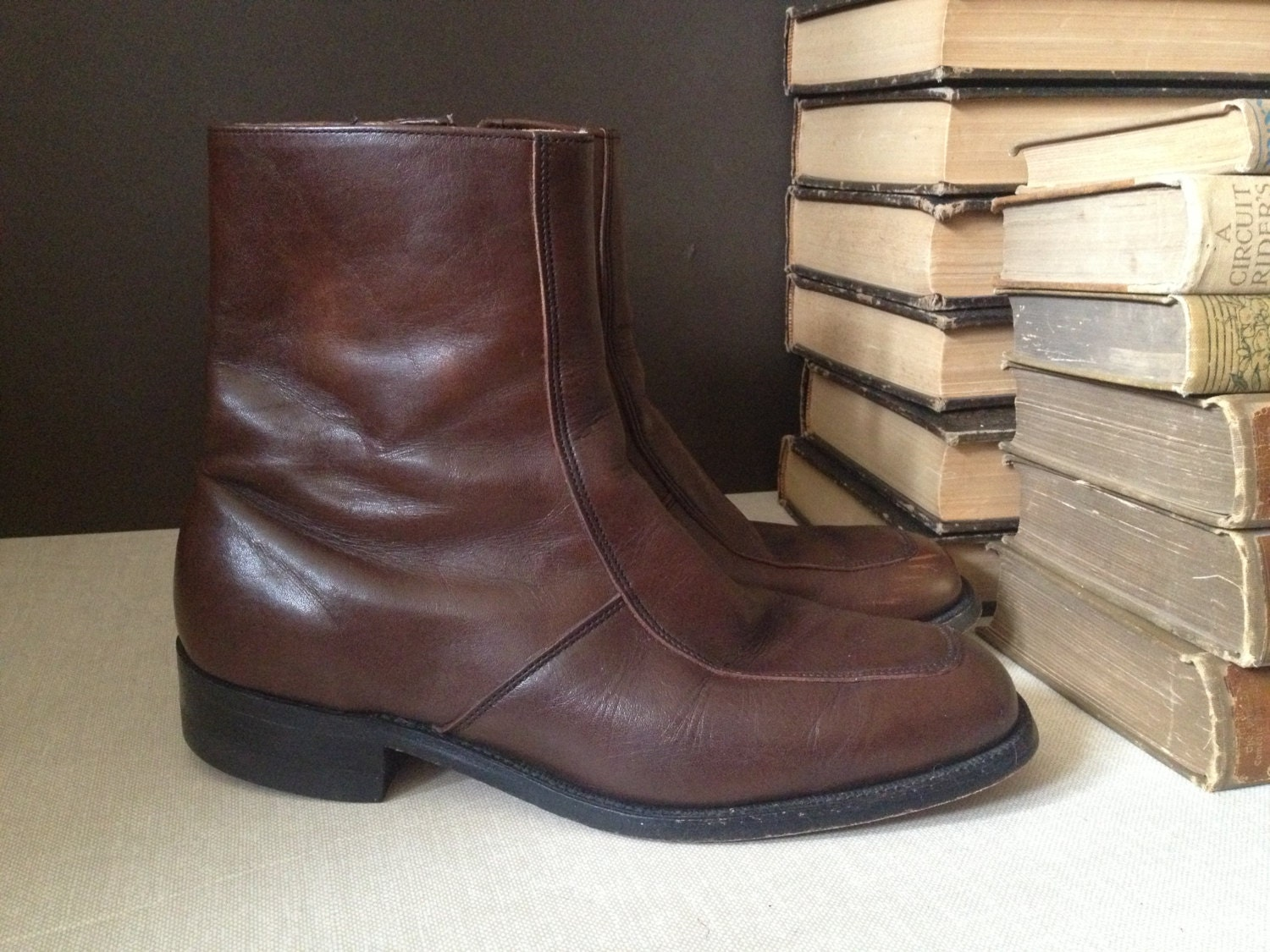 brown leather mens beatle boots size 8 to 85 d made in usa