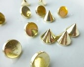 Gold Rivet Stud Spikes - 10mm - Acrylic - Sew on - Glue on -  Rivets Studs Spike