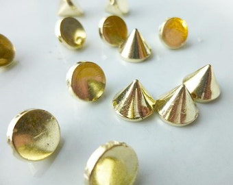 1250 Gold Rivet Stud Spikes - 10mm - Acrylic - Sew on - Glue on -  Rivets Studs Spike