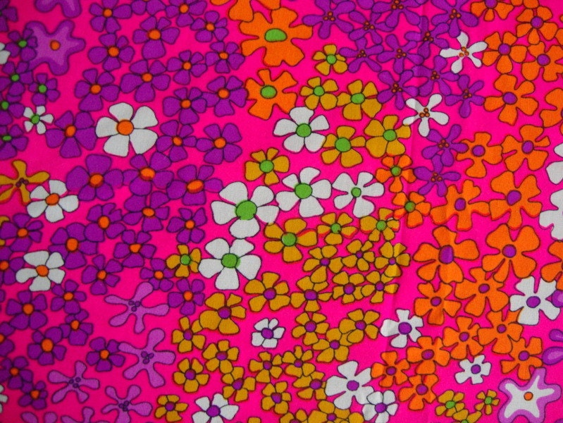 Vintage 60s Hot Pink Daisy Flower Fabric Lime Green Tangerine