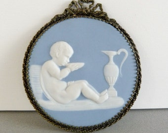 Antique Tharaud Limoges Wall Plate - Blue Jasperware by Limoges France
