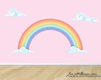 Rainbow Wall Decal, Pastel Rainbow Fabric Wall Sticker, Rainbow Wall Art