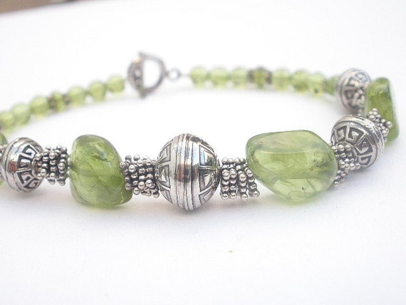 Natural Peridot Gemstone 925 Sterling Silver Bracelet