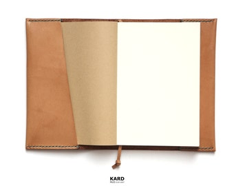 Personalized MUJI Notebook Leather Cover, Leather Cover, Natural Italian Leather, Free Shipping