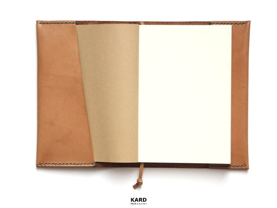 Personalized MUJI Notebook Leather Cover / Personalized Leather Cover / Hand Stitched Natural Beige Leather / Two Notebooks Included