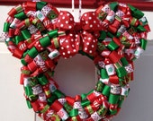 Christmas Minnie Mouse Ribbon Wreath