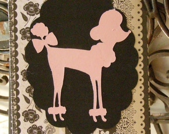 Pink Poodle Notecards, Handmade Set of 4 Blank Notecards,  All Occasion Cards with Envelopes
