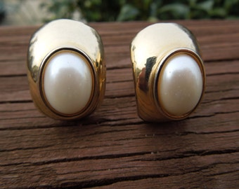 Vintage Gold Tone Earrings, Clip On Type, With Almond Style Faux Pearl, Excellent Condition