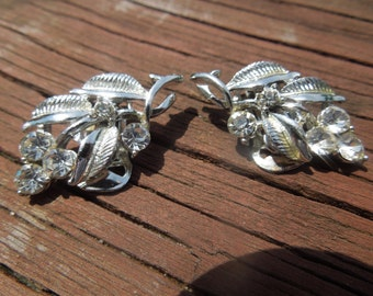 Vintage Clip Earrings, Silver Tone, Floral Design with Rhinestones