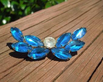 Vintage Rhinestone Brooch, Blue and Clear Rhinestones, Gold Tone Backing
