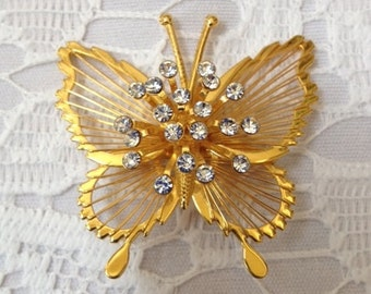 SALE Vintage Monet Butterfly Brooch Goldtone with Clear Sparkling Rhinestones
