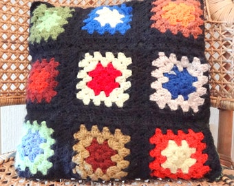 Vintage Folk Granny Square Throw Pillow/Cushion