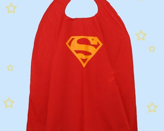 Red Superman Cape Superhero Costume Cape for Kids, Superhero Pretend Dress-up Cape with Velcro tab for safe and easy on and off.