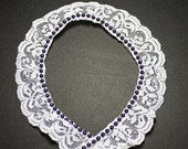 Ruffled White Scalloped Lace - Dark Plum Purple Bead Edging - Beaded Lace - White Lace - White and Plum - Lace Trim - Wedding Lace