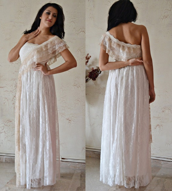 Ivory Greek Goddess 2017 Ivory Bohemia Wedding Dresses: Items Similar To Ivory Lace Wedding Dress / Bohemian