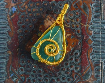 Teal green sea glass jewelry, wire wrapped pendant, sea glass pendant, Birthday gift, genuine sea stone, beach stone pendant, gold wire