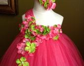 Fuschia flower girl tutu dress Headband vintage style, wedding, photo, tea party, birthday,  Flower girl birthday