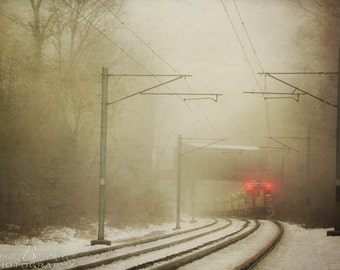 Train Photograph, Travel, Transportation, Train to the Big City, Railroad, Fog, Railway, Wanderlust
