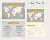 Destination wedding invitation World map Bilingual Invitation RSVP Two Countries One Love One Big Celebration greys yellow