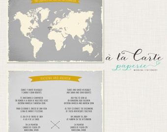 Bilingual Invitation World Map invite Two Countries One Love One Big Celebration Wedding Invitation greys Yellow Destination wedding