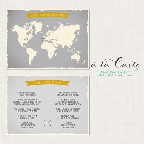 bilingual invitation world map invite two by alacartepaperie, Wedding invitations